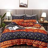 LAMEJOR Duvet Cover Sets Queen Size Bohemia Exotic Pattern Vibrant Color Luxury Soft Bedding Set Comforter Cover(1 Duvet Cover+2 Pillowcases) Orange/Teal Purple