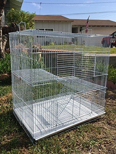 New Medium 3 Levels Ferret Chinchilla Sugar Glider Cage 24' Length x 16' Depth x 24' Height (White)