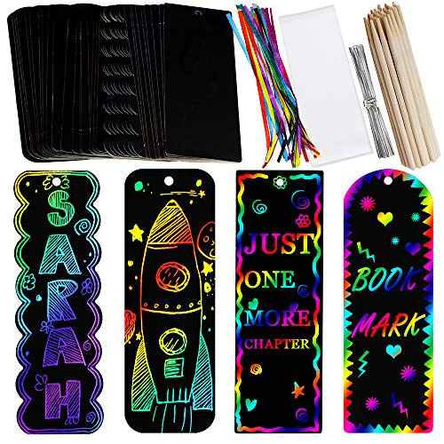 Supla 36 Sets 4 Style Magic Scratch Rainbow Bookmarks Making...