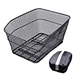 ANZOME Rear Bike Basket – Metal Wire Bicycle Cargo Rack Mount for Back Under Seat with Heavy Duty Reflective Black Waterproof Rainproof Cover