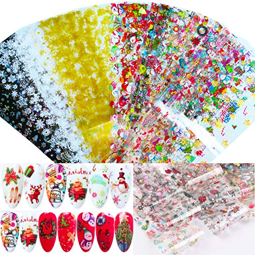 50 Sheets Nail Foil Transfer Stickers Christmas Tree Sugar Snowflakes Swonman Deer Winter Design DIY Decals for Women Girls Nail Art Decoration/Craft Art (Christmas C)