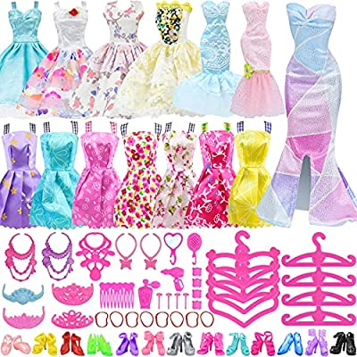 What you get -- 2 random style fashion evening dresses, 2 random style fashion skirts, 10 random style mini dresses, 48 Doll Accessories (Pls kindly know that dolls are not included. ) Unique design -- All doll fashion clothes are carefully crafted b...
