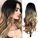 Quantum Love Wigs Ombre Wig Black to Light Brown Side Part Long Wavy Wig Heat Resistant Synthetic...