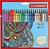 Feutre à dessin - STABILO Pen 68 - Étui carton x 24 feutres pointe...