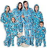 Footed Pajamas - Family Matching Polar Hoodie Onesies for Boys, Girls, Men, Women and Pets (Adult - Large Plus/Wide (Fits 5'11-6'4')) Blue