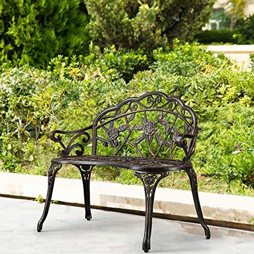 YAHEETECH Outdoor Garden Bench Patio Park Bench, Aluminum Floral Rose...