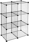 Amazon Basics 6-Cube Wire Grid Storage Shelves, 14' x 14' Stackable Cubes, Black