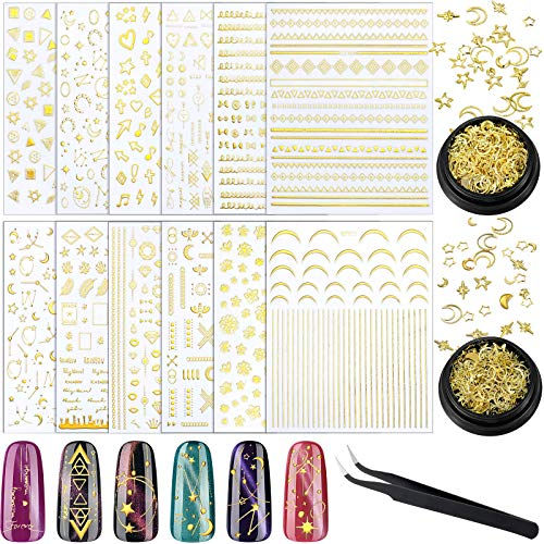 12 Sheets Gold Nail Art Stickers Decals Star Moon Nail Sticker and 2 Boxes Nail Art Studs 3D Metallic Sun Jewelry Flower Design Nail Strips Hollow Manicure Glitter Alloy Nail Supply with Nail Tweezers