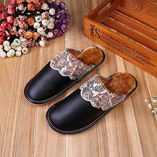 Zapatillas de cuero para hombre, zapatos de algodón impermeables para adultos, zapatillas cálidas de invierno, zapatos antideslizantes en la parte inferior del tendón de res, zapatillas, marrón, 39/40