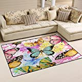 WOZO Watercolor Butterfly Oil Painting Area Rug Rugs Non-Slip Floor Mat Doormats Living Dining Room Bedroom Dorm 60 x 39 inches inches Home Decor
