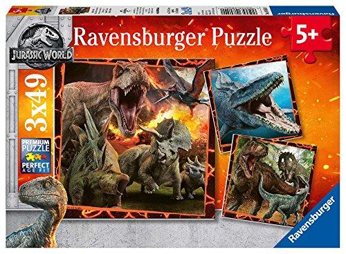 Ravensburger Jurassic World Puzzle per Bambini, Multicolore, 3 x 49 Pezzi, 8054