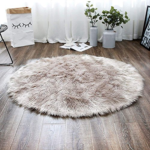 LEEVAN Plush Sheepskin Style Throw Rug Faux Fur Elegant Chic Style Cozy Shaggy Round Rug Floor Mat Area Rugs Home Decorator Super Soft Carpets Kids Play Rug (6 ft-Diameter, Coffee)