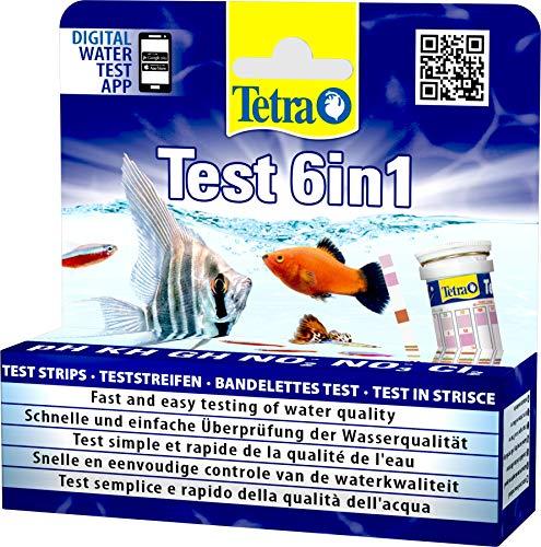 Tetra Test 6in1, Test dell'Acqua per l'Acquario, Controllo Facile e Veloce della Qualit dell'Acqua, 25 Strisce