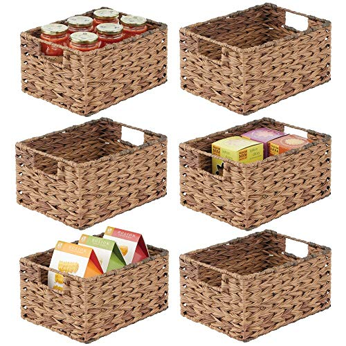 mDesign Woven Ombre Farmhouse Kitchen Pantry Food Storage Organizer Basket Bin - for Cabinets, Cupboards, Shelves,...