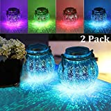 MAGGIFT 2 Pack Solar Lanterns Outdoor Christmas Table Decorations Super Bright LED Lamp Outside Hanging Lights for Tree, Table, Yard, Garden, Patio, Holiday Party Decoration, White/Color Changing
