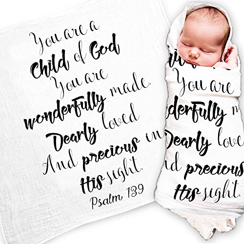 Ocean Drop Designs - White Muslin Swaddle Blankets - Psalm 139 Child of God Quote - for Christening, Baptism, Baby Shower, Godchild Gift - 100% Cotton, Breathable - Machine Washable (47x47)