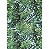 Decomall Monet Palm Tree Print Outdoor Indoor Area Rug for Patio Deck Backyard Pool, Green, 4'x6'