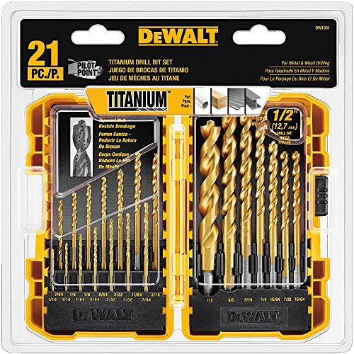 DEWALT Titanium Drill Bit Set, Pilot Point, 21-Piece...