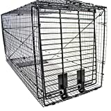 Humaneway Folding 50 Inch Live Humane Animal Trap - Safe Traps for All Animals - Dogs, Raccoons, Cats, Groundhogs, Opossums, Coyote, Bobcat - 50'x20'x26', Black (914050-NM)