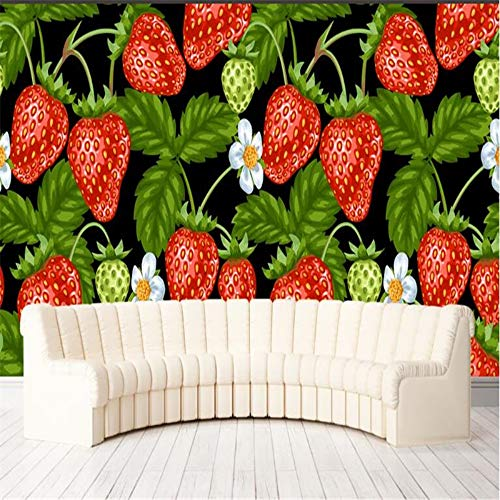 Sucsaistat Wallpaper Mural 3D Dipinto A Mano Vivid Strawberry Fruit Jumbo Fresh Wallpaper...