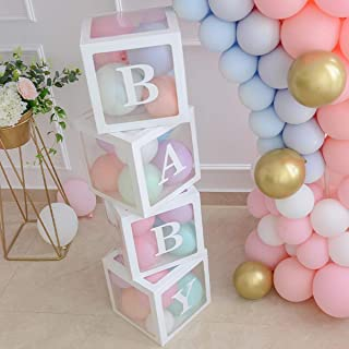 Baby Shower Boxes Party Decorations – 4 pcs Transparent Balloons Boxes Décor with..
