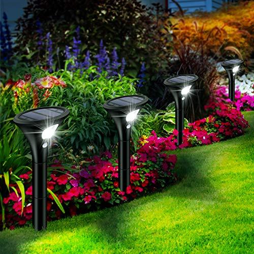 Leolee Solarlampen für Außen, [4 Stück] Solarleuchten Garten Sehr Hell LED Solar Strahler 2 Modi mit Bewegungsmelder IP65 Wasserdicht Auto Ein/Aus Solarlicht für Bäume, Sträucher, Gartenweg (Weiß)