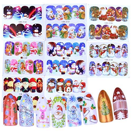 48 Sheet Santas Snowmen Trees Snowflakes Xmas Christmas 3D Nail Art Stickers Fashion Women DIY Nail Art Sticker 2019 New