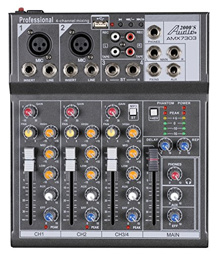 Audio2000'S AMX7303 Professional Four-ChannelAudio Mixerwith USB and DSPProcessor