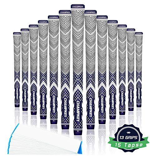 Champkey Victor Golf Grips Grey Series Set of 13(15 Tapes Included) - Cross Cotton Technology Golf Club Grips Ideal for Clubs Wedges Drivers Irons Hybrids (Navy Blue(15 Tapes Included), Midsize)