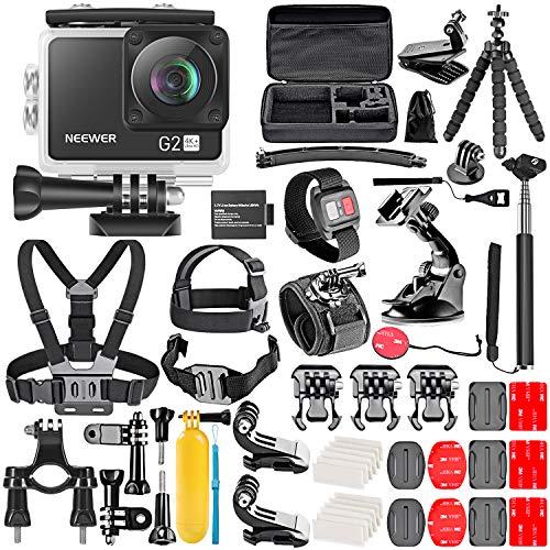 Neewer Fotocamera d'Azione G2 4K WiFi con Touchscreen Videocamera DV Impermeabile Ultra HD 12MP 4K /30FPS EIS Telecamera WiFi 170° Grandangolare con Telecomando Batteria e kit Accessori 50-in-1