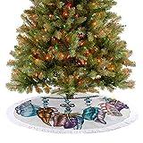 Falda de árbol de Navidad de lujo adornado con plumas y figuras de piedras preciosas, símbolo espiritual de astrología, decoración para interiores y exteriores, 122 cm