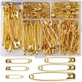 LUTER 250 Pieces 6 Sizes Safety Pins Large and Small Safety Pins Durable, Rust-Resistant for Art Craft Sewing Jewelry Making Home Office Use (Gold)
