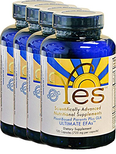 Yes Parent Essential Oils ULTIMATE EFAs 120 Capsules (4 Pack), Based On The Peskin Protocol, Plant Based Organic Oils, Omega 3 6, Vegetarian, Keto Friendly 1