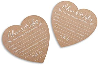 Kate Aspen Wedding Advice Card – Heart Shape (Set of 50) Party Game, kraft, white