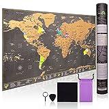 Carte du Monde à gratter | Ultra détaillée avec tous les États-Unis |...