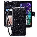 CHICASE Case for LG Aristo 4 Plus/LG Tribute Royal/LG Arena 2/LG Prime 2/LG Escape Plus/Journey LTE/LG Aristo 4+/LG X2 2019/X320, Flip Glitter Bling Cute Leather Wallet Case for LG K30 2019 (Black)