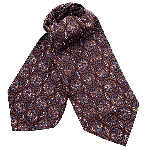 Elizabetta Cravatta da uomo 100% seta Ascot, Cravat Cravat, realizzata a mano in Italia Cioccolato Trasimeno Taglia unica