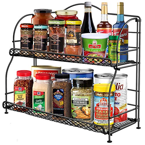 Spice Rack Organizer for Countertop, 2-Tier Spice Racks for Kitchen Cabinet, Foldable Metal Spice Holder Standing...