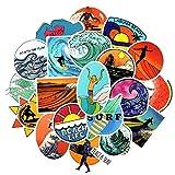 Top Aufkleber ! Set von 50 Surfing Aufkleber Premium Qualität - Vinyls Stickers Nicht Vulgär – Surf, Beach, Graffiti - Anpassung Laptop, Gepäck, Motorrad, Fahrrad, Scrapbooking