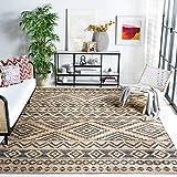 Safavieh Kilim Collection KLM751A Handmade Moroccan Boho Jute & Cotton Area Rug, 7' x 7' Square, Natural / Charcoal