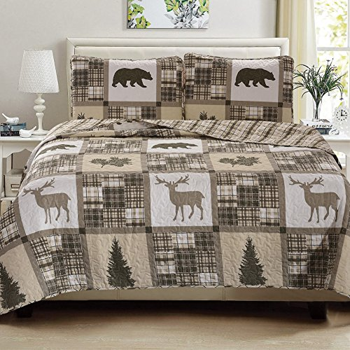 Great Bay Home Lodge Bedspread King Size Quilt with 2 Shams. Cabin 3-Piece Reversible All Season Quilt Set. Rustic Quilt Coverlet Bed Set. Stonehurst Collection.