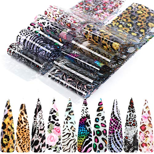 10 Sheets Leopard Print Nail Foil Transfers Stickers Leopard Print Nail Foils Holographic Laser Starry Sky Foil Stickers for Women Girls DIY Nail Art Manicure Decoration Supplies(Style C)…