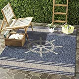 LR Home Captiva Nautical Helm Indoor/Outdoor Area Rug, 5' x 7', Navy/Gray
