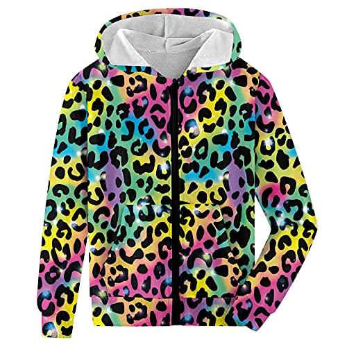 Dancinova Felpe con cappuccio con zip per bambini Felpa con cappuccio a maniche lunghe con stampa leopardata color maglione con tasca 10-12 Anni