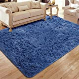 Flagover Soft Fluffy Modern Living Room Area Rugs Shaggy Plush Non-Slip Bedroom Carpets Suitable for Children Room, Baby Room, College Dorm and Nursery Home Decor Floor Rugs 4x6 Feet Light Navy