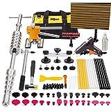 Mookis 77-teiliges Reparaturset für Dellen an Karosserien, Reflektor LED Board, T-Griff, Heißklebepistole, Gummihammer, Ausbeulhammer
