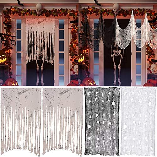 Sumind 4 Piezas Paño Espeluznante de Halloween Cortina de Puerta Espeluznante Gasa Espeluznante de Decoración Bandera de Tela de Casa de Miedo Accesorios de Fotos para Fiesta Tema Halloween