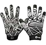 Cutters Game Day Football Glove, Silicone Grip Receiver Glove. Youth & Adult Sizes (1 Pair), Black