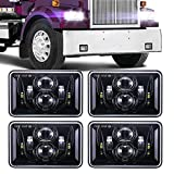 BICYACO (4 PCS) DOT Approved 60W 4x6 Inch LED Headlights Rectangular Replacement H4651 H4652 H4656 H4666 H6545 for Peterbilt Kenworth Freightinger Ford Probe Chevrolet Oldsmobile Cutlass -Black
