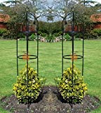 Unibos Set of 2 Garden Obelisk Climbing Plants Support Roses Metal Arch 1.9m High Pair